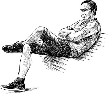 81296443 - sketch of an young man on a park bench