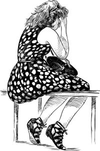 82676505 - vector drawing of a tired young woman