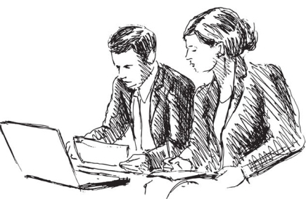 53085056 - hand sketch female and male workers